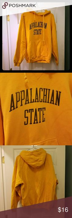 Appalachian State Hoodie Sweatshirt Nice Appalachian State hoodie! Golden yellow App State color (pictures are pretty true to color). Has been well worn and loved, does have some fading on the letters (see pic 2), and fleece inside is roughed up I guess you could say lol, not as soft inside as it used to be (it's like how any fleece lined sweatshirt gets after lots of love). Still thick and warm and has lots of life left!! Feel free to ask any questions!  All my items come from a smoke free…