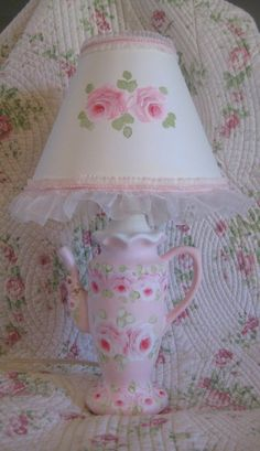 PINK hp ROSE shabby chic hand painted french country tea pot lamp shade cottage #shabbychic #Cottage