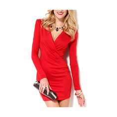 Red Long Sleeve V Neck Bodycon Short Dress DR0130247-2 (35 CAD) ❤ liked on Polyvore featuring dresses, red, short dresses, sexy long sleeve dresses, long-sleeve mini dress, long sleeve bodycon dress and sexy short dresses