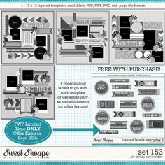 Digital Scrapbook Templates, Cindy's Layered Templates: Set 153 by Cindy Schneider