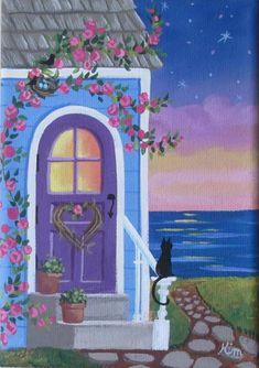 10 x 8 Twilight Folk Art Print di KimsCottageArt su Etsy