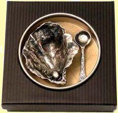 Oyster Shell Salt Cellar with Salt Spoon