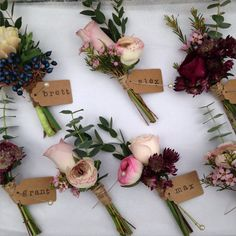 Buttonholes delivered to Bartholomew Barns www.rose-cottage-… Buttonholes delivered to Bartholomew Barns www. Wedding Flower Guide, Cheap Wedding Flowers, Floral Wedding, Trendy Wedding, November Wedding Flowers, Wedding Yellow, Corsage Wedding, Wedding Bouquets, Rustic Color Palettes
