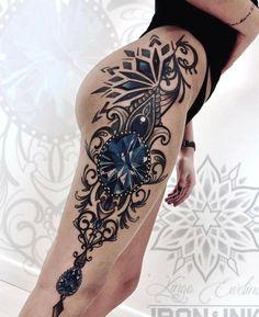 Hip Thigh Tattoos, Best Leg Tattoos, Leg Tattoos Women, Dope Tattoos, Trendy Tattoos, Body Art Tattoos, Tatoos, Strong Woman Tattoos, Badass Tattoos
