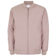 TOPMAN PREMIUM Pink Padded Bomber Jacket ($130) ❤ liked on Polyvore featuring men's fashion, men's clothing, men's outerwear, men's jackets, mens padded bomber jacket, mens pink jacket and mens padded jacket