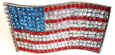 Vintage-80s-Red White and Blue American Flag-Rhinestone American Flag-Patriotic Belt Buckle-L via Etsy.