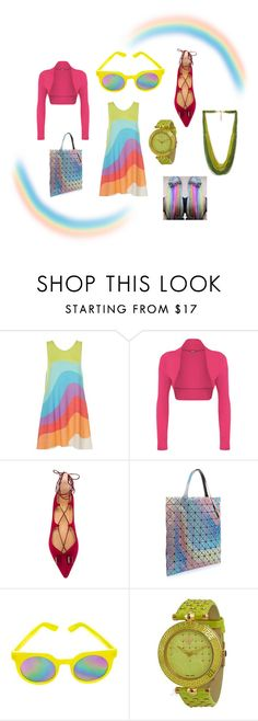 """Sky full of rainbow"" by ameliayanita on Polyvore featuring Mara Hoffman, WearAll, Bao Bao by Issey Miyake, Quay, Versace and Forever 21"