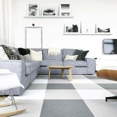 Made You Look Rooms Playroom Rug Carpet Squares Carpet Living Room Carpet, Bedroom Carpet, Living Room Sofa, Carpet Tiles, Rugs On Carpet, Grey Carpet Hallway, Gray Carpet, Hall Carpet, Decorating Above Kitchen Cabinets