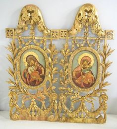 2 large 19thc Russian Icons in ornate frame