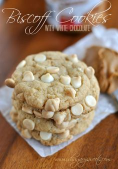 "Biscoff White Chocolate Cookies: soft and chewy cookies with homemade Biscoff ""morsels"" #cookierecipe #biscoff @shugarysweets"