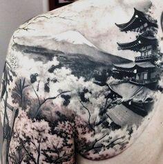 tattoo japones paisaje - Buscar con Google