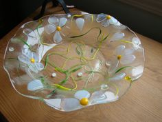 Floral eye catching fused glass salad bowl, fruit bowl, candy bowl, Shower gift, birthday gift, wedding gift, women's gift, whimscal, floral by HighfireGirl on Etsy https://www.etsy.com/listing/219937205/floral-eye-catching-fused-glass-salad
