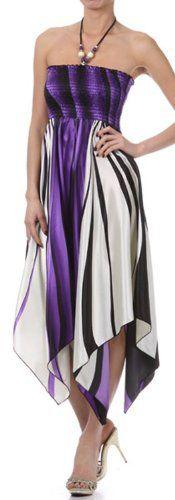 Swirl Design Satin Feel Beaded Halter Smocked Bodice Handkerchief Hem Dress