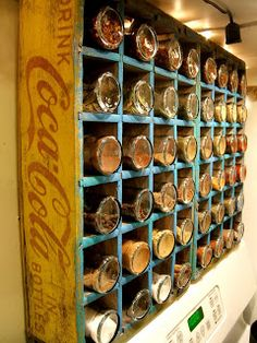 Add some charm and charactor to any kitchen with an old drink crate as a spice rack. You could even use it so sort and store craftroom supplies or knick knacks. (And what kid wouldn't love a place to show off their matchbox cars or collected rocks, geodes and arrowheads if you have a budding archaeologist)