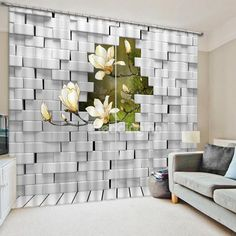 White Orchids Outside of the Wall Print 3D Blackout Curtain #home #decor #interior #design #3d #curtains