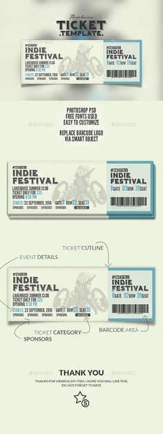 Event Ticket u2014 PSD Template #business #studio u2022 Download ➝   - banquet ticket template