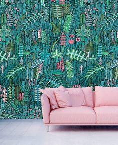 Wallpaper designed by Lucy Tiffney, Palm, Lagoon, Mr Bear, Allium tropical Great Interior Design Challenge, Interior Design Career, Garden Mural, Natural Bedding, Night Garden, Wallpaper Samples, Wallpaper Ideas, Hall Wallpaper, Painted Wallpaper