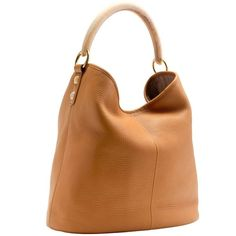 J.Crew Horn Hobo ($270) ❤ liked on Polyvore featuring bags, handbags, shoulder bags, faux leather shoulder bag, brown leather handbag, leather hobo handbags, hobo purse and leather hobo shoulder bag