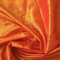 WHOLESALE OFFER 10% OFF - 6 Yards Saffron Orange 100 Percent Pure Silk Dupioni Fabric