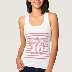 Strawberry Ice Sweet 16 and  Thin Stripes Pattern Tshirt Tank Tops
