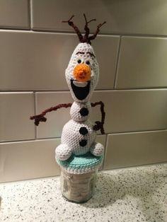 Olaf gemaakt op een snoeppot.