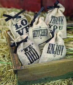 Burlap Wedding Favor Bags - 5 Styles!  Fun for western themed wedding favors!  #wherebridesgo #weddingfavors #westernweddings