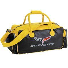 6e30afac13 C6 Corvette Black and Yellow Leather Duffle Bag Leather Duffle Bag