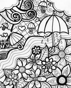 INSTANT DOWNLOAD Coloring Page April Showers Bring by RootsDesign