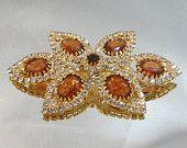 Vintage Rhinestone Brooch. Large. Amber Clear Rhinestones. Unsigned Beauty.