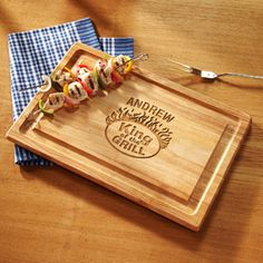 "Personalized ""king Of The Grill"" Wood Cutting Board"