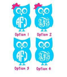 Owl Personalized Monogram Sticker Vinyl Decal Sticker Vinyl - Owl custom vinyl decals for car