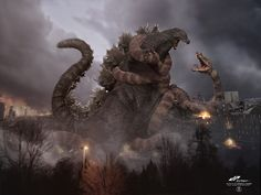 zGodzilla vs Manda color version by dopepope.deviantart.com on @DeviantArt