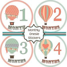 Mint & Peach AND Hot Air Balloons? Perfect! Monthly Baby Stickers - Baby Shower Gift and Photo Prop - Hot Air Balloon - 155