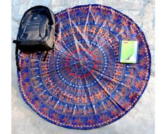 Bright red and blue colored round elephant hippie indian tapestry tablecloths, Handmade Mandala Wall Art, Indian Tapestry Bohemian Tapestry Wall Hanging by Vedindia