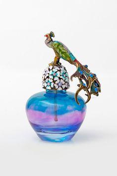 Mikasa Moor Peacock Glass perfume bottle!