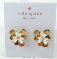 Kate Spade Pansy Blossoms Gold tone White Crystal Stud Earrings NEW! Kate Spade Earrings, Pansies, Blossoms, Pearl Earrings, Crystals, Gold, Ebay, Jewelry, Flowers