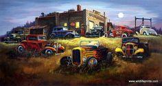 Artist Dale Klee Unframed Hot Rod Racer Print Moonlight Deuces   WildlifePrints.com