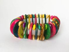 Multicolored tagua nut bracelet boho indie gypsy by MittmibyD