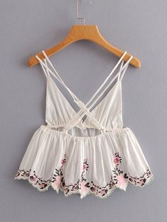 To find out about the Embroidery Ruffle Hem Cami Top at SHEIN, part of our latest Tank Tops & Camis ready to shop online today! Fashion Sewing, Diy Fashion, Womens Fashion, Summer Outfits, Casual Outfits, Cute Outfits, Hijab Fashion, Fashion Outfits, Fashion Styles