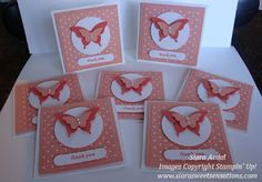 Stampin Up: 3X3 Note Cards from punches and Teeny Tiny wishes