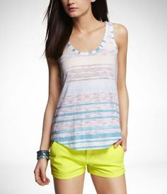 fun summer outfit. LACE BACK BURNOUT TANK at Express