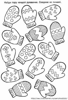 Guantini, gloves Christmas Coloring Pages, Coloring Pages For Kids, Winter Art, Winter Theme, Winter Crafts For Kids, Art For Kids, Christmas Activities, Preschool Activities, Christmas Templates