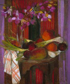 """Bodegón con paño"" óleo sobre lienzo, 55 x 46 cm."