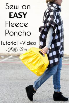 Sew Easy! Use fleece, sew two seams and done! Great tutorial to sew a poncho from Melly Sews