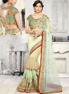 Reception Cream and Green Georgette Designer Reception wear Saree