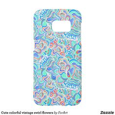 Cute colorful vintage swirl flowers Samsung Galaxy S7 Case