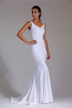 The mermaid fit and flare dress is perfect for showing off all your curves. If you like this dress style, shop around for variations at Legends Bridal. Full Length Gowns, After Dark, Bridal Collection, Fit And Flare, Bridal Dresses, Mermaid, Formal Dresses, Beautiful, Style