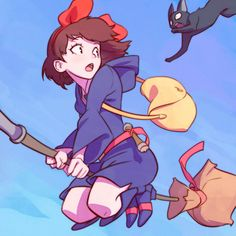 Official Post from Kuvshinov Ilya: Kiki's Delivery Service and Little Witch Academia crossover!My dear patrons will get:♥ High-Res♥ Process Steps♥ PSD♥ Full-Screen Video Processof this piece at this week's rewards! Studio Ghibli Films, Art Studio Ghibli, Kiki Delivery, Kiki's Delivery Service, Kuvshinov Ilya, Hayao Miyazaki, Anime Crossover, Animes Wallpapers, Cute Art