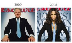 Former President Bill Clinton by Platon, Esquire, December 2000 and Halle Berry by Cliff Watts, Esquire, November 2008.
