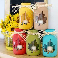 DIY Colorful Mason Jars for Thanksgiving